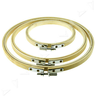 "4,6,& 8"" Bamboo Hoops/Rings For Embroidery Cross Stitch Set Mother's Days Gift"