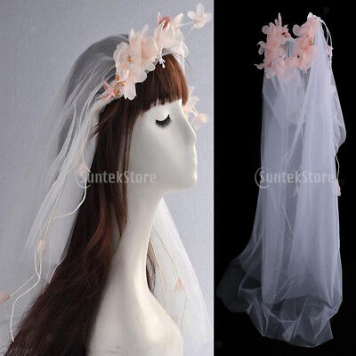 Bridal Veil White 2 Layers Short Wedding Veil Flower Garland Pearl with Clip