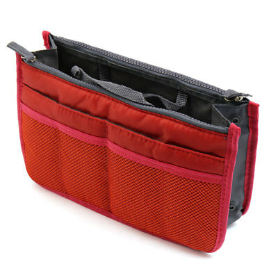 Portable Brick Red 13 Pockets Travel Toiletry Storage Bag Cosmetic Makeup Pouch