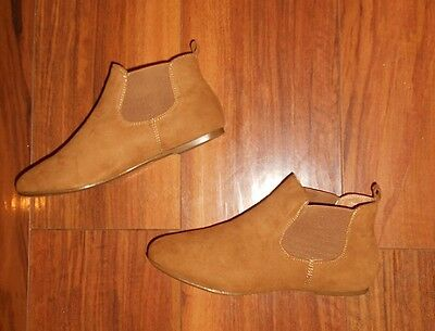 Womens Poshh! New Trendy Comfy Flat Brown Chelsea Ankle Boots: Uk Size 7 (40)