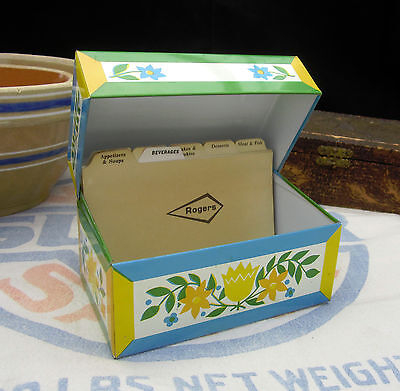 Vintage Metal Recipe Box Retro Yellow & Blue Flowers Syndicate Mfg. Made in USA