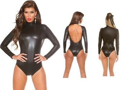 sexy Wetlook Langarm-Body Body Gr. S M L XL * Lederoptik Leder-Look