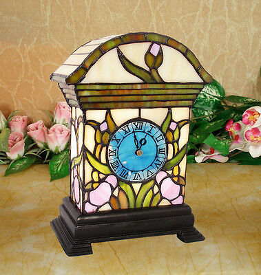 *limited* Tiffany Stained Glass Rare Clock Leadlight Lounge Table Lamp