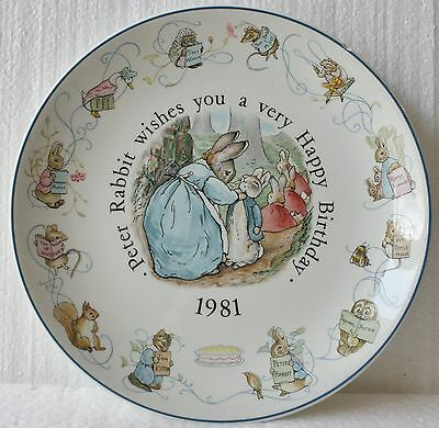 Peter Rabbit 1981 Xmas Plate  by Wedgwood Beatrix Potter