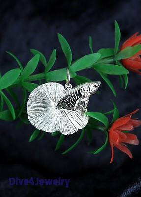SOLID 925 STERLING SILVER 3D Betta Fish fight fish Pendant Necklace Aquarium AUS