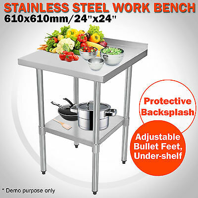 Commercial 2x2FT Stainless Steel Work Bench Table Kitchen Top Splash 610X610mm
