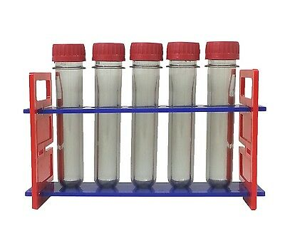 Rack with 5 Plastic Safety Test Tube 5.5 L x 1 (OD) Inches Preform Threaded Cap