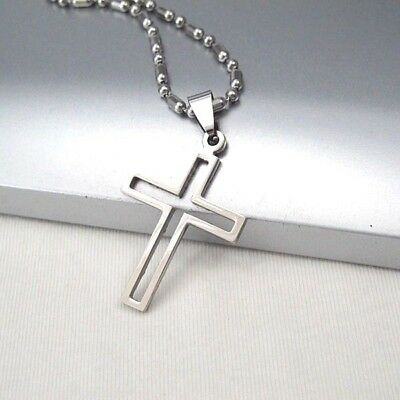 "NEW Silver Gothic Celtic Cross Stainless Steel Pendant 24"" Mens Chain Necklace"