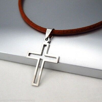 NEW Silver Gothic Celtic Cross Stainless Steel Pendant Brown Leather Necklace