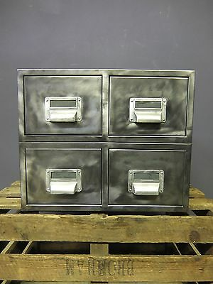 Vintage Industrial Steel Filing Drawers, Stripped