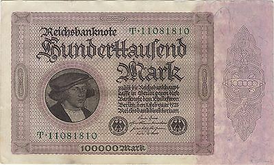 1923 100,000 Mark Germany Currency Reichsbanknote German Banknote Note Bill Cash