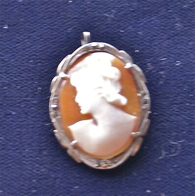 Intricately Hand Carved FULL BODY CAMEO Brooch Pin 800 Coin Silver