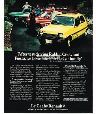 1979 Renault LE CAR Yellow Red White Green Vtg Print Ad