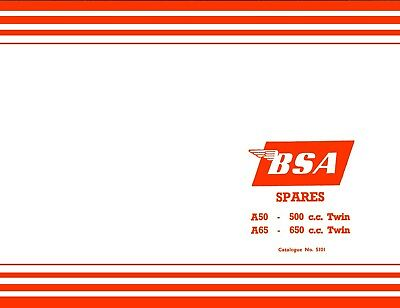 BSA A50 A65 Spares Book 1962-1963 Parts Catalogue Good Quality Reprint