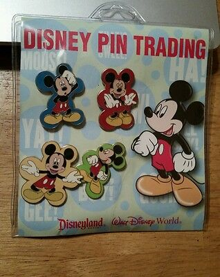 Disney MICKEY MOUSE IN DIFFERENT POSES  4 PIN Set . **NEW** *GENUINE DISNEY*