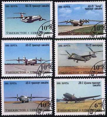UZBEKISTAN (03/1) 1995 Aeroplanes Aircrafts Used 6 diff. Stamps ! Gift Children!