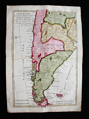 1777 BONNE - Amazing map of SOUTH AMERICA, CHILE, ARGENTINA, PATAGONIA, FALKLAND