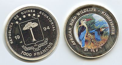 G0255 - Equatorial Guinea 7000 Francos 1994 KM#98 African Birds Kingfisher Color