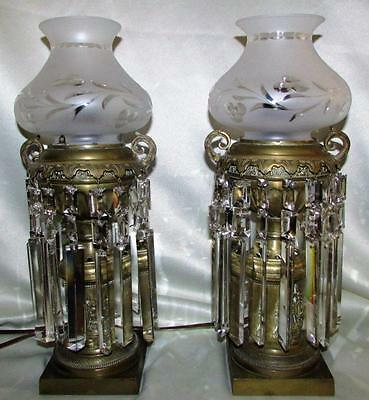 Ornate Antique Electrified Brass Oil Lamp Pair Boudoir / Mantle Crystals, Shades