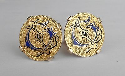 Vintage $5 Gold Coin & 14K Yellow Gold CUFFLINKS, Engraved & Enameled~~1872