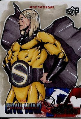 Captain America Civil War Sketch Card By Walter D. Rice