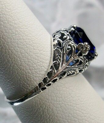 2ct*Sapphire* Solid Sterling Silver Leaf Floral Art Nouveau Filigree Ring Size 5