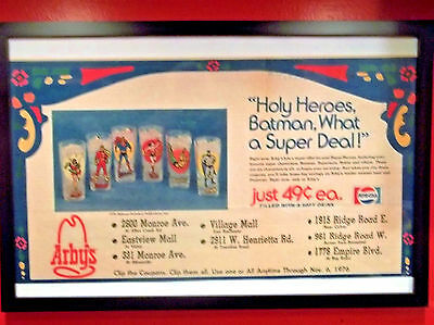 Framed Advertising For The 1976 Pepsi Super Series D.c. Comics Glasses Arby's