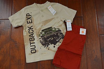 Gymboree Outback Outfit Adjustable Shorts and T-Shirt Set Boy Size 6 NWT NEW