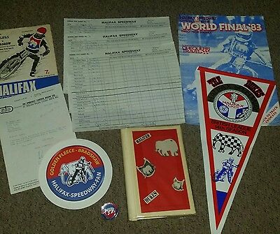 Selection of mixed halifax dukes speedway items - pennant badge sticker etc