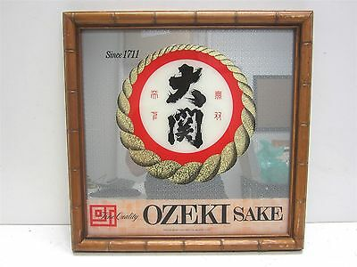 Ozeki Sake Promotional Framed Bar Mirror Sign Advertisement Collectible