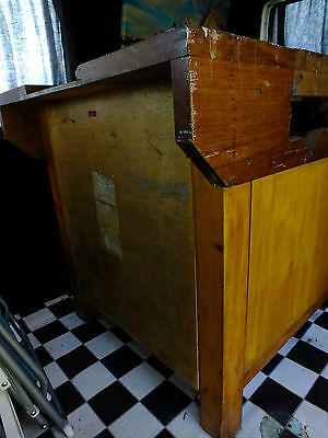 Vintage School Wood Working Bench With Vice
