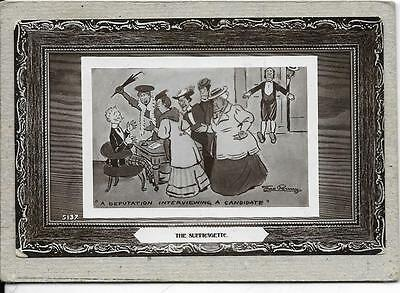 """THE SUFFRAGETTE, """"A Deputation Interviewing a Candidate"""", old Comic postcard,"""