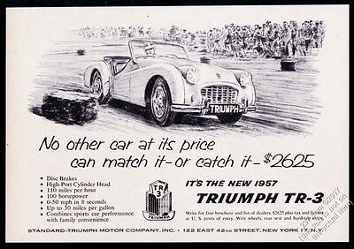 1957 Triumph TR3 TR-3 racing race car art vintage print ad