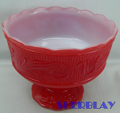 Vintage E.O. Brody Co Red White M6000 Scalloped Footed Compote Candy Bowl USA