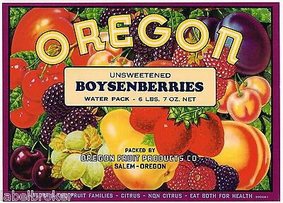 Boysenberries Crate Label Fruit Box Oregon Vintage Original Salem Kitchen Decor