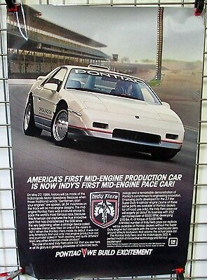 1984 Pontiac Fiero Indy 500 Pace Car Dealer Showroom Poster Mid Engine Large GM