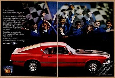 1969 Ford Mustang Mach 1 red car and checker flag photo vintage print ad