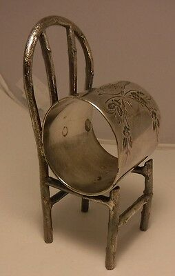 "ANTIQUE FIGURAL CHAIR SILVER PLATED LARGE 4.3"" CHAIR NAPKIN RING unusual NICE!!"