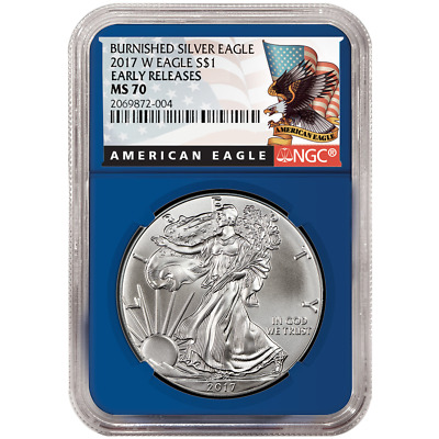 2017-W Burnished $1 American Silver Eagle NGC MS70 Black ER Label Blue Core