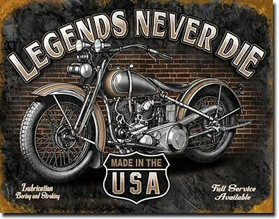 Motorcycle Sign Legends Vintage Bike Rustic Metal Advertising Tin Made in USA