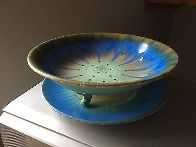 Art Deco 1930's Shelley Dripware Harmony drainer and under plate blue / green