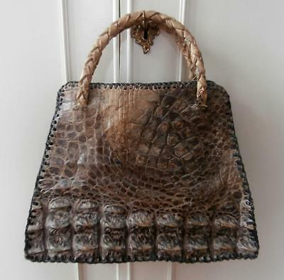 Vintage 1940's (Aprx) Brown & Grey Crocodile Leather Holdall Style Hand Bag
