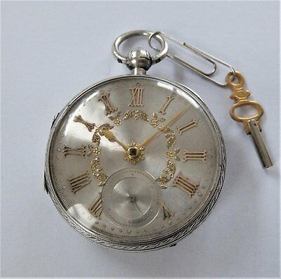1890 Silver Cased Jewelled Fusee Pocket Watch In Working Order