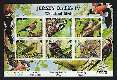 Jersey 2010 Birds Sheet Of 6 Values Um/mnh