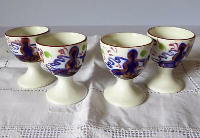 Set of Four Gaudy Welsh Egg Cups Oyster Pattern Allertons VGC