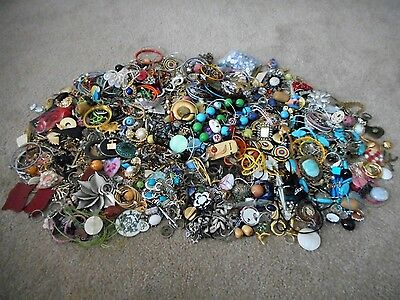 LARGE lot of costume jewelry over 13 lbs.  Many whole pieces, lots to for crafts