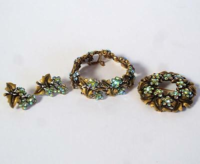 4 pc Aurora Borealis Rhinestone TRIFARI set Bracelet Brooch & Pierced Earrings