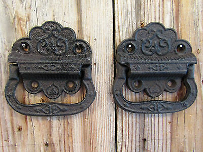 "Lot/Set of 2 Rustic New 3"" Cast Iron TRUNK PULL Drop Handle Trap Door Toolbox"