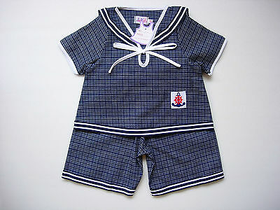 BABY BOY SAILOR OUTFIT Dark Blue Patterned Suit Outfit Cotton Pyjama Clothing