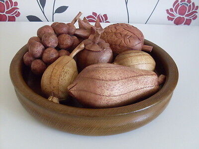 Wooden Ware. Oak Fruit Bowl With Wooden Tropical Fruit, Lovely Lot.